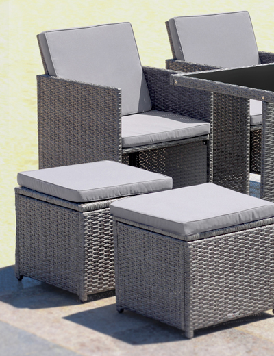 6er Set Polyrattan Gartenmöbel Dining Lounge
