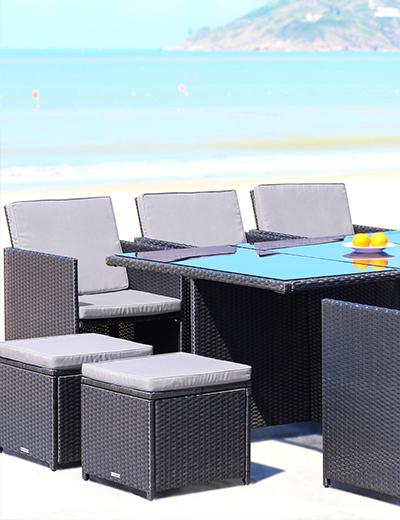 Gartenmöbel Set 6er Sitzgruppe Redneck Dining Lounge Schwarz Polyrattan Alu Milchglas