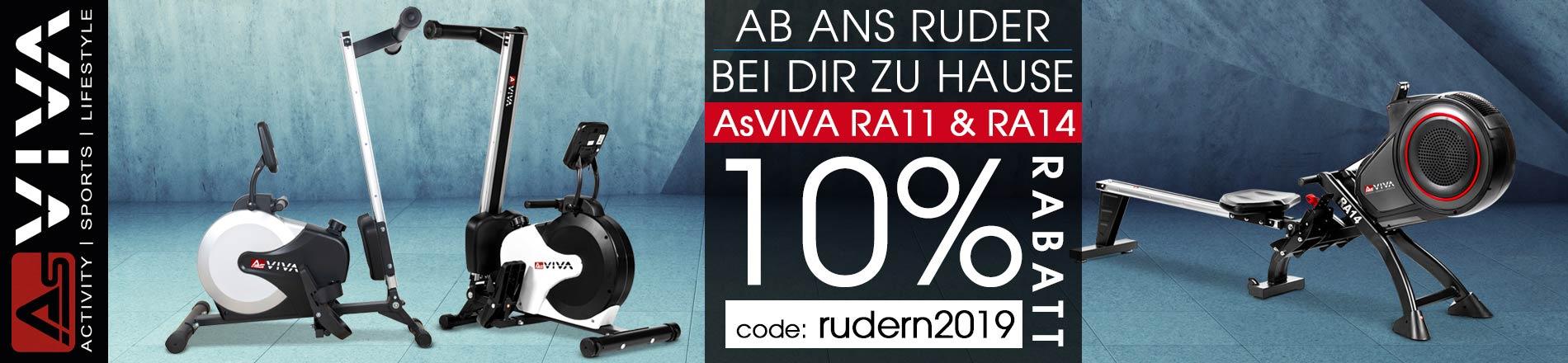 10% Rabatt-Gutschein Aktion für AsVIVA Rudergeräte RA11 und RA14
