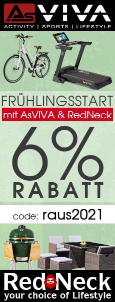 6% Frühlings-Aktion Gutschein für Fitnessgeräte, E-Bikes, E-Motorroller, Keramikgrills und Gartenmöbel