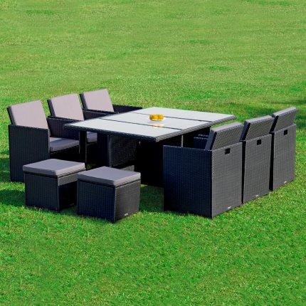 """Gartenmöbel Set 6er Sitzgruppe RedNeck """"Dining Lounge schwarz"""" Polyrattan Alu Milchglas"""