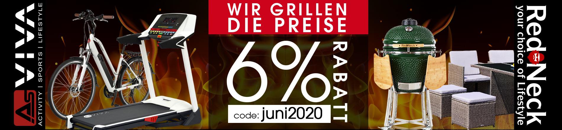 6% Juni-Rabatt Gutschein für Fitnessgeräte, E-Bikes, E-Scooter, Keramikgrilss und Gartenmöbel