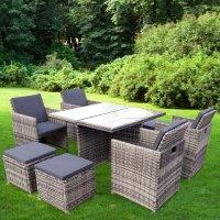 """Gartenmöbel Set 4er Sitzgruppe RedNeck """"Dining Lounge beige grau"""" Polyrattan Alu Milchglas"""