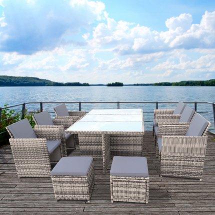 """Gartenmöbel Set 6er Sitzgruppe RedNeck """"Dining Lounge beige grau"""" Polyrattan Alu Milchglas"""