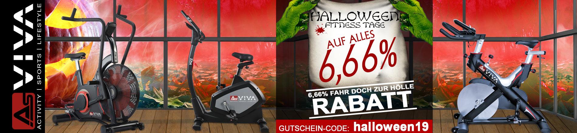 Halloween Fitness Tage 6,66% Rabatt-Gutschein Aktion für AsVIVA Fitnessgeräte, E-Bikes, Gartenmöbel & Keramikgrills