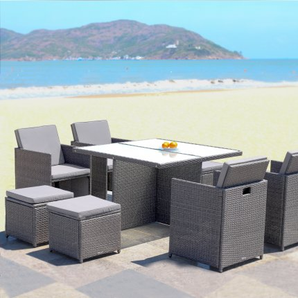 Gartenmöbel set lounge grau  Gartenmöbel 4er Rattan-Lounge Sitzgruppe günstig kaufen | AsVIVA