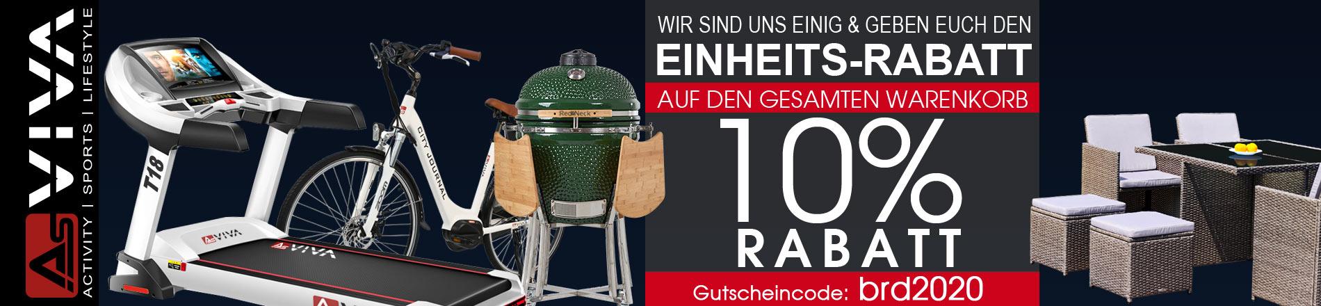 10% Deutsche-Einheit-Rabatt Gutschein für Fitnessgeräte, E-Bikes, E-Scooter, Keramikgrilss und Gartenmöbel