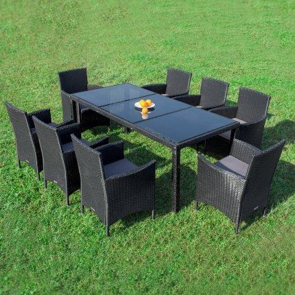 """Gartenmöbel Set 8er Sitzgruppe RedNeck """"Dining exclusive schwarz"""" Polyrattan Alu Schwarzglas"""