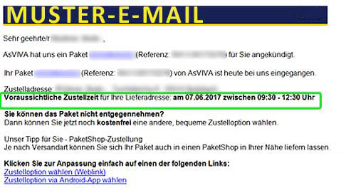 Muster E-Mail Paketdienst