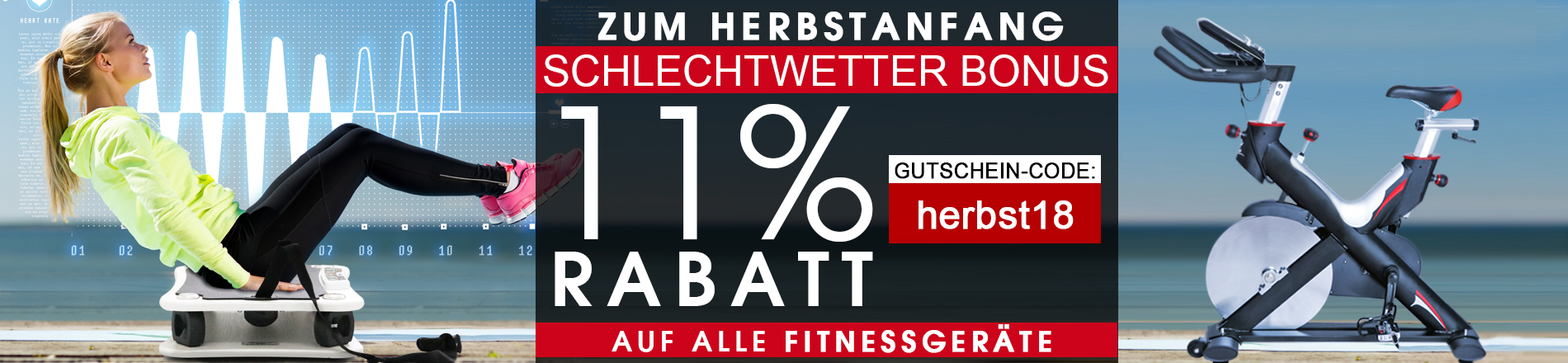 Das Training geht weiter - 11% Herbst-Rabatt auf alle Fitnessgeräte