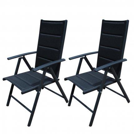 2er Set Gartenstuhl schwarz Aluminium Stühle verstellbar