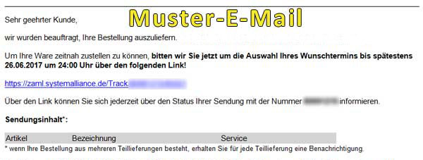 Muster E-Mail Spedition