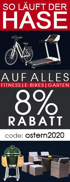 8% Oster-Rabatt Gutschein für Fitnessgeräte, E-Bikes, E-Scooter, Keramikgrills und Gartenmöbel