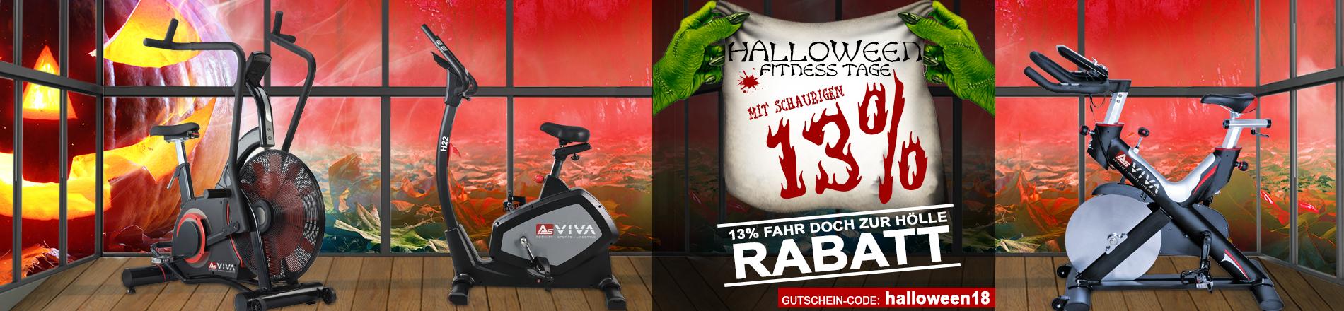 Halloween Aktion 13% Rabatt-Gutschein für Fitnessgeräte, E-Bikes, Keramikgrills und Gartenmöbel im AsVIVA Online Shop