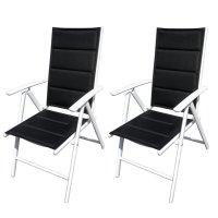 RedNeck 2er Set Gartenstuhl weiß Aluminium Stühle verstellbar