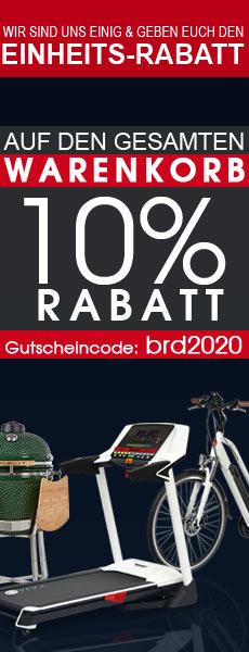 10% Deutsche-Einheit-Rabatt Gutschein für Fitnessgeräte, E-Bikes, E-Scooter, Keramikgrills und Gartenmöbel