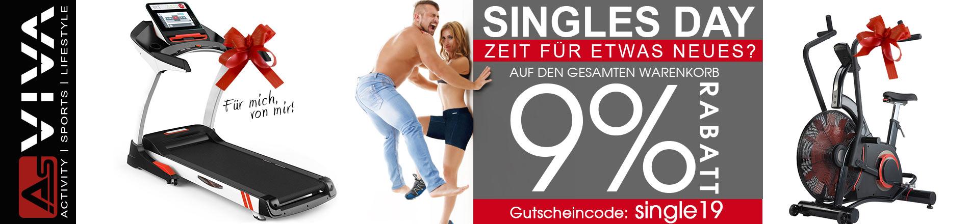 Singles Day Wochenende 9 % Rabatt-Gutschein für Fitnessgeräte, E-Bikes, Gartenmöbel & Keramikgrills im AsVIVA Online Shop.