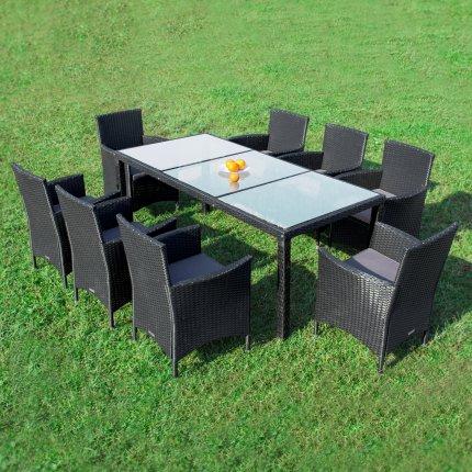 """Gartenmöbel Set 8er Sitzgruppe RedNeck """"Dining exclusive schwarz"""" Polyrattan Alu Milchglas"""