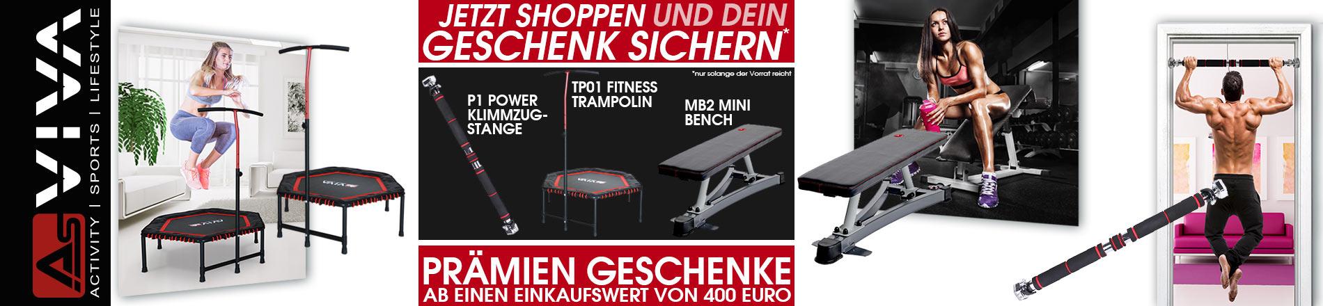 AsVIVA Power Prämien ab 400 € Einkaufswert für Fitnessgeräte, E-Bikes, E-Scooter, Keramikgrilss und Gartenmöbel