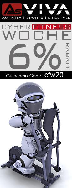 Cyber Fitness Woche 6% Rabatt-Gutschein für Fitnessgeräte, E-Bikes, Gartenmöbel & Keramikgrills im AsVIVA Online Shop.