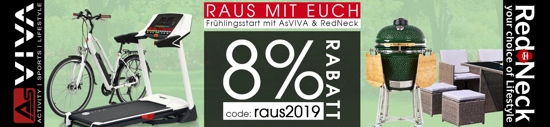 Frühlings-Rabatt 8% Gutschein für Fitnessgeräte, E-Bikes, Keramikgrills und Gartenmöbel im AsVIVA Online Shop