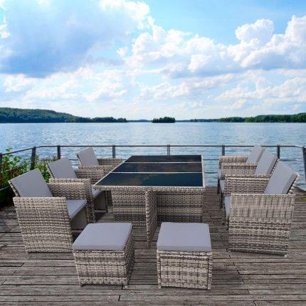 """Gartenmöbel Set 6er Sitzgruppe RedNeck """"Dining Lounge beige grau"""" Polyrattan Alu Schwarzglas"""