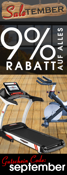 SaleTember Rabatt Aktion -9% auf Fitnessgeräte, E-Bikes, Keramikgrills und Gartenmöbel