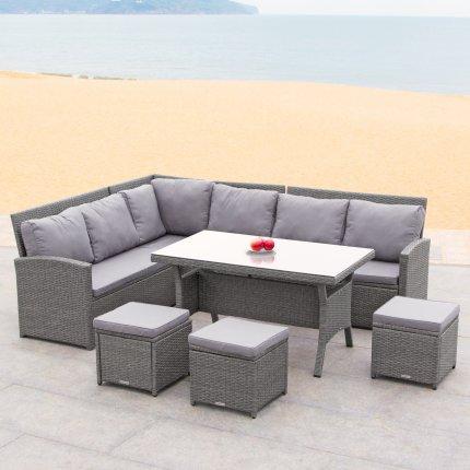 gartenm bel 8er rattan ecklounge g nstig kaufen asviva. Black Bedroom Furniture Sets. Home Design Ideas