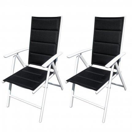 2er Set Gartenstuhl weiß Aluminium Stühle verstellbar