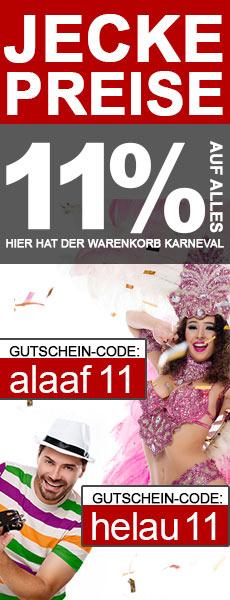 11% Karneval Rabatt Gutschein für Fitnessgeräte, E-Bikes, E-Scooter, Keramikgrilss und Gartenmöbel