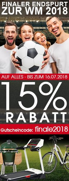 15% WM-Finale-Rabatt auf Fitnessgeräte, E-Bikes, Haus & Garten