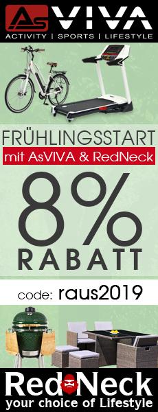 Frühlings-Rabatt 8% Gutschein für Fitnessgeräte, E-Bikes, RedNeck Keramikgrills und RedNeck Gartenmöbel im AsVIVA Online Shop