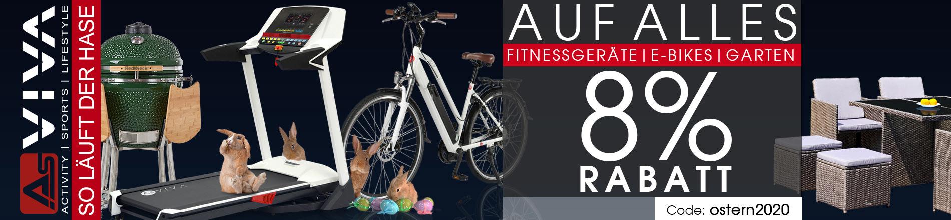 8% Oster-Rabatt Gutschein für Fitnessgeräte, E-Bikes, E-Scooter, Keramikgrilss und Gartenmöbel