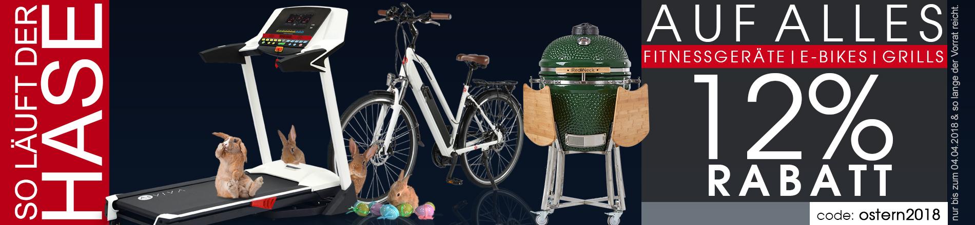Oster-Rabatt 12% auf alles im AsVIVA Shop - E-Bikes, Fitnessgeräte, Keramikgrills und Haus & Garten top reduziert