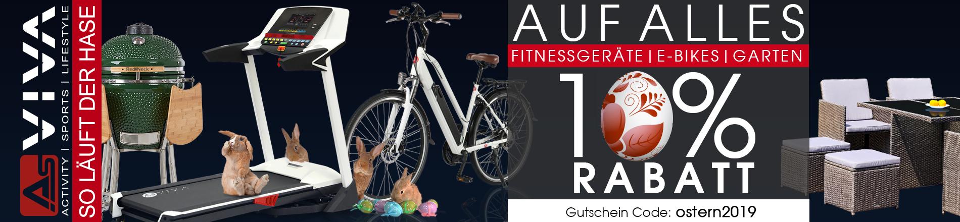 10% Oster-Rabatt-Gutschein für Fitnessgeräte, E-Bikes, Gartenmöbel & Keramikgrills im AsVIVA Online Shop.