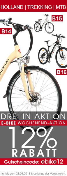 E-Bike Aktion 12% Rabatt-Gutschein für E-Bikes B14, B15 und B16