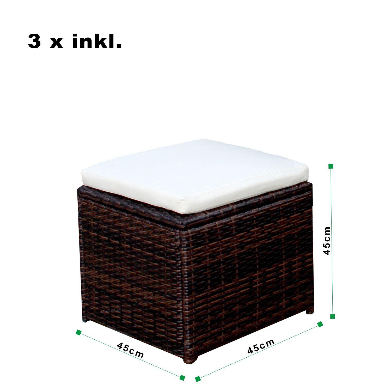 gartenm bel set 8er ecklounge comfort dining premium polyrattan braun asviva ebay. Black Bedroom Furniture Sets. Home Design Ideas