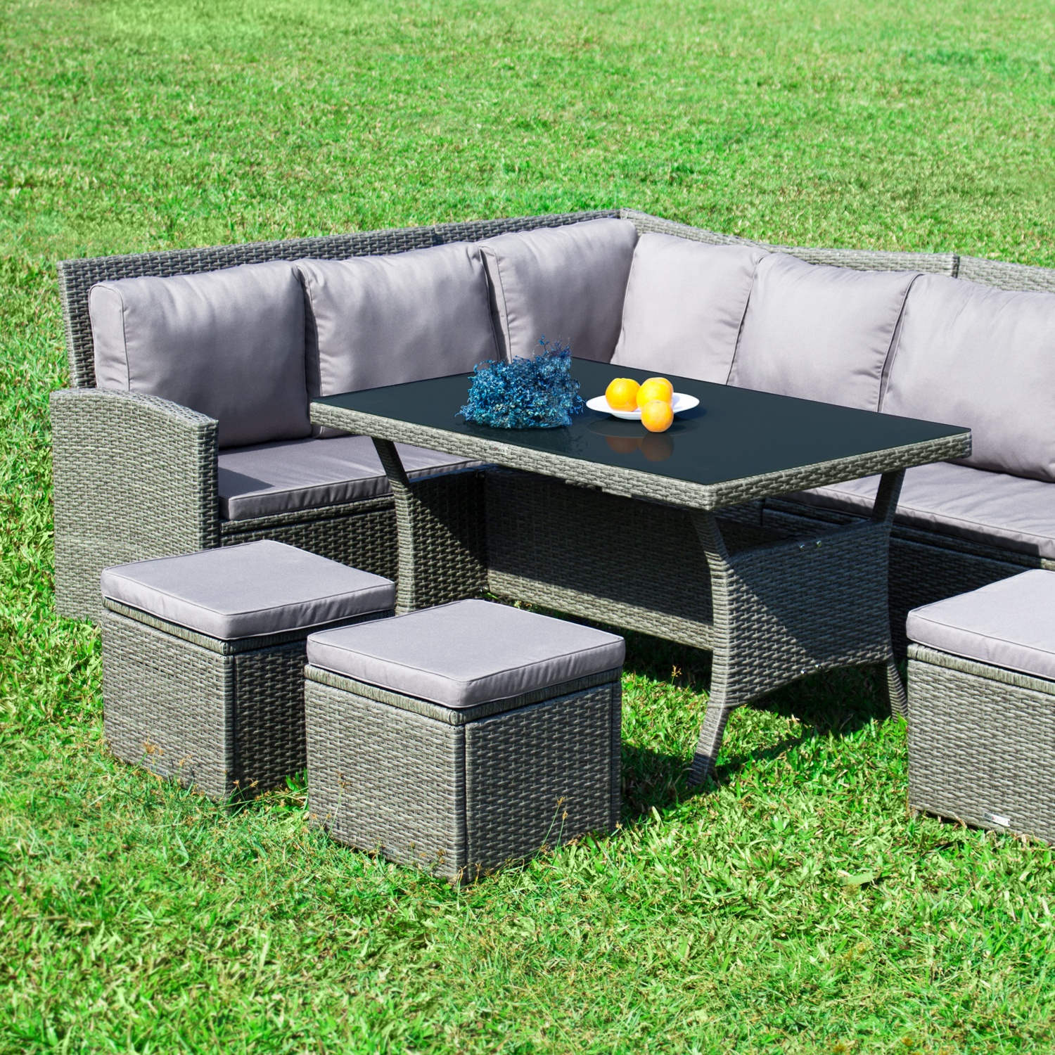 gartenm bel set 8er ecklounge redneck comfort grau polyrattan aluminium ebay. Black Bedroom Furniture Sets. Home Design Ideas