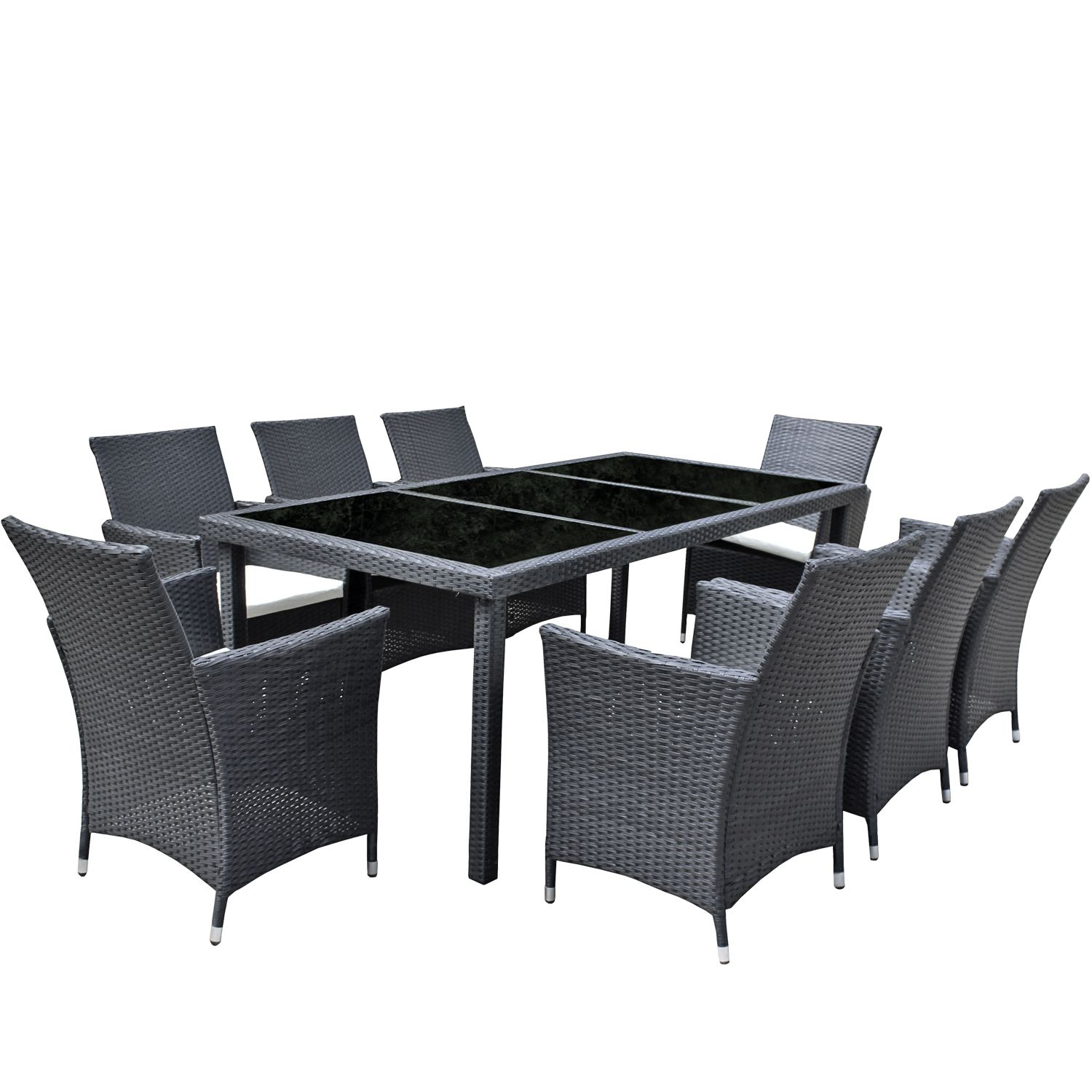 gartenm bel set 8er sitzgruppe dining exclusive polyrattan schwarz asviva ebay. Black Bedroom Furniture Sets. Home Design Ideas