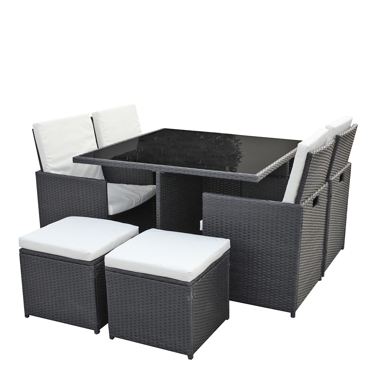 gartenm bel set 4er 4 sitzgruppe dining lounge polyrattan inkl 4 sitzhocker ebay. Black Bedroom Furniture Sets. Home Design Ideas
