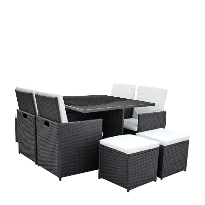 gartenm bel set 4er 4 sitzgruppe dining lounge polyrattan inkl 4 sitzhocker ebay. Black Bedroom Furniture Sets. Home Design Ideas