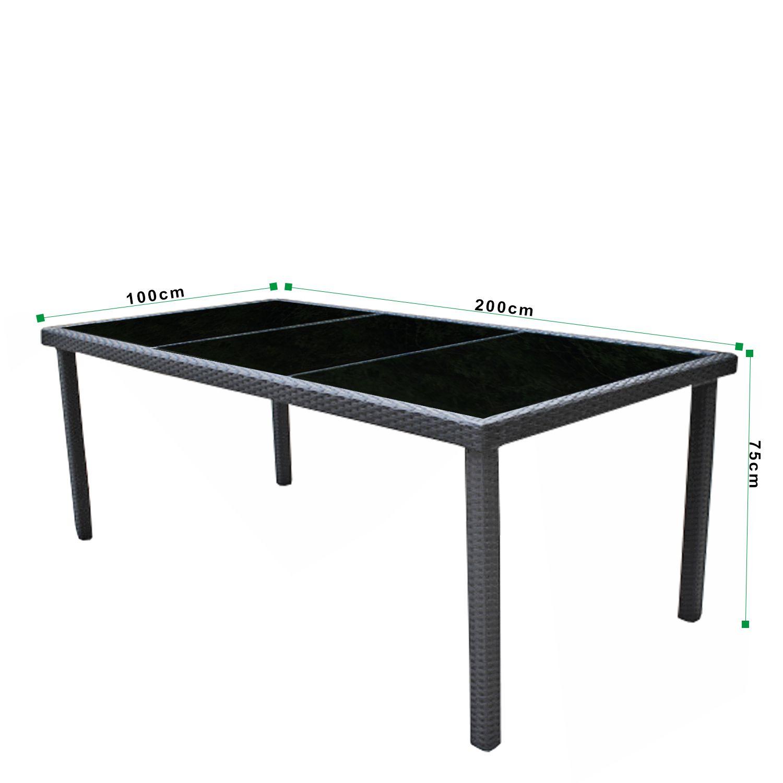 gartenm bel set 8er essgruppe dining exclusive polyrattan schwarz asviva ebay. Black Bedroom Furniture Sets. Home Design Ideas
